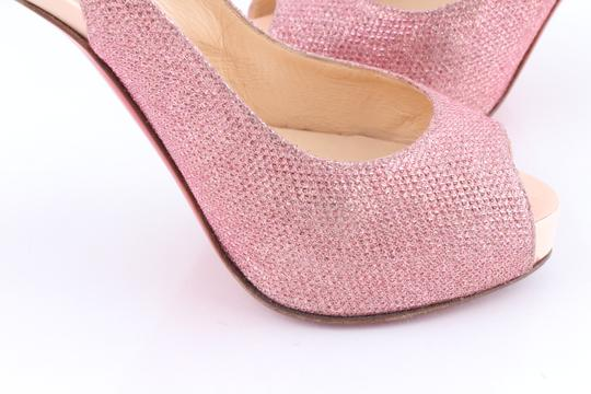 Christian Louboutin Open Toe Peep Toe Metallic Pink Pumps
