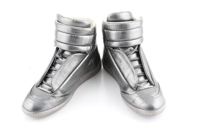 Item - Silver Pewter Metallic Leather Future High Top Shoes