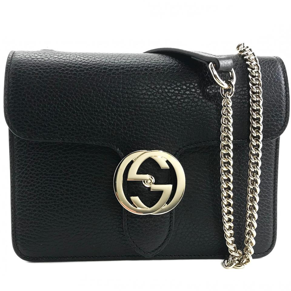 90307f2cb Gucci 510304 Interlocking Chain Black Leather Cross Body Bag - Tradesy