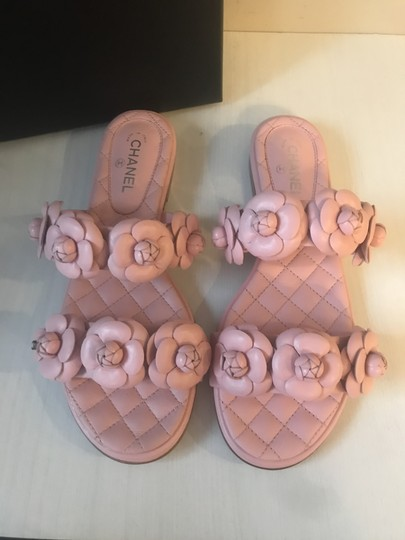 Chanel Cc Slides Camellia Quilted Slide Pink Sandals