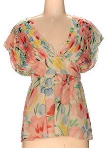 Tibi Silk Floral Floral Top Multicolored pink yellow lblue red