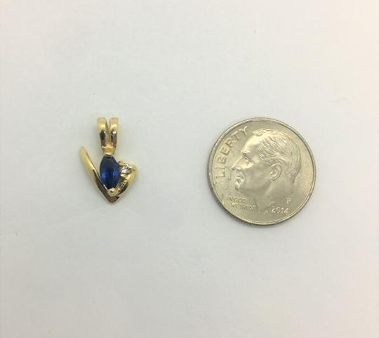 Other 14k Yellow Gold Blue Sapphire and Diamond Pendant