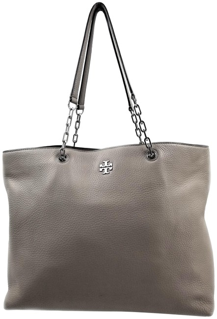 Item - Pebbled Gray Leather Tote