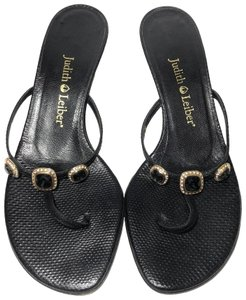Judith Leiber Kitten Jewel Leather Black Sandals