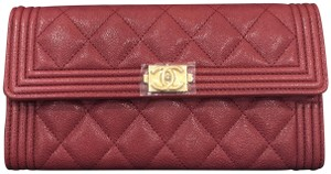 Chanel NEW Chanel Boy Long Wallet Caviar Burgundy 18A Sold Out Gold