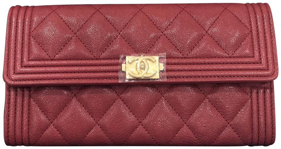 abf27ce6ade4 Chanel NEW Chanel Boy Long Wallet Caviar Burgundy 18A Sold Out Gold Image 0  ...