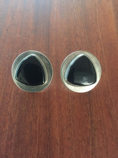 Brand Unknown BLack Onyx and Sterling Silver Button Earrings