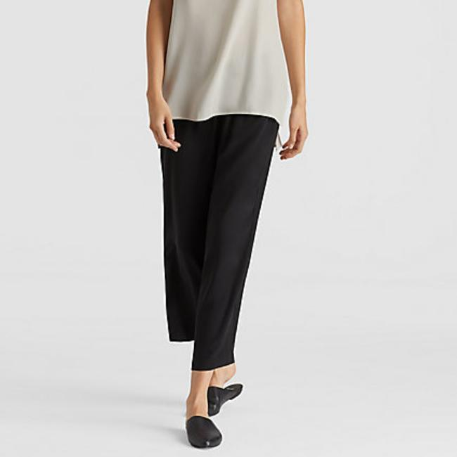 Eileen Fisher Satin Ankle Length Silky Slouchy Capri/Cropped Pants Black