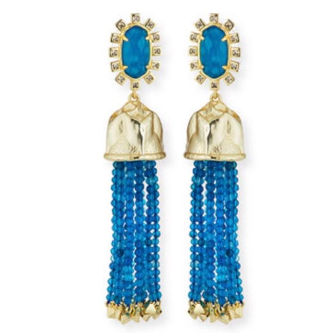 Kendra Scott Blue Gold Beads Tassle Decker Earrings Kendra Scott Blue Gold Beads Tassle Decker Earrings Image 1