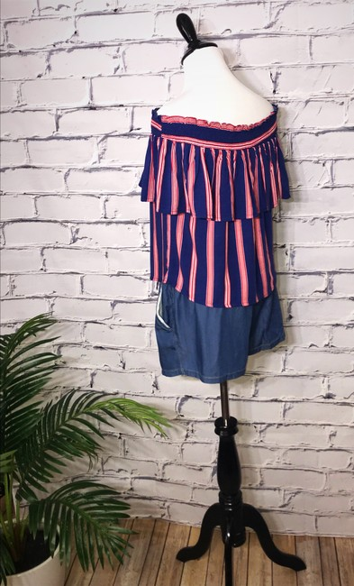 Flying Tomato Ruffle Off Shoulder Stripe Striped Top Red / Blue