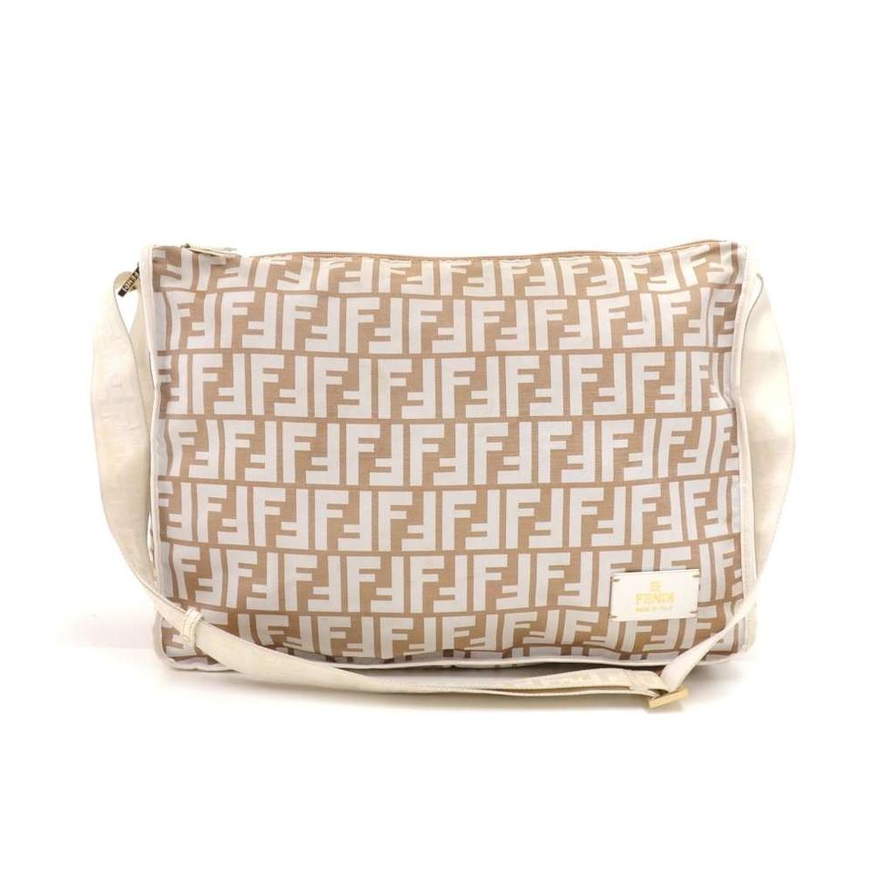 0fd4add87b Fendi   White Zucca Monogram   White Leather Beige Nylon Messenger ...