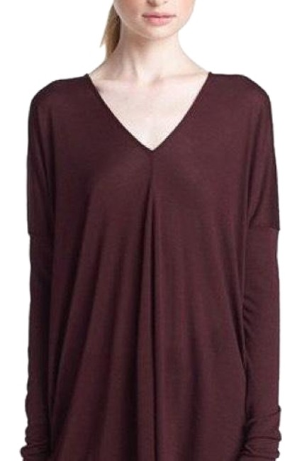 Preload https://img-static.tradesy.com/item/23999426/vince-burgundy-long-sleeve-double-v-neck-tee-shirt-size-0-xs-0-1-650-650.jpg