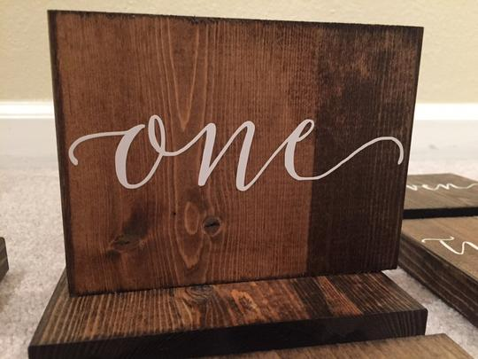 Wood + White Table Numbers - Reception Decoration