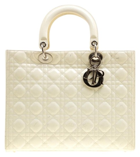 Preload https://img-static.tradesy.com/item/23999495/dior-lady-dior-large-cream-patent-leather-and-nylon-tote-0-1-540-540.jpg