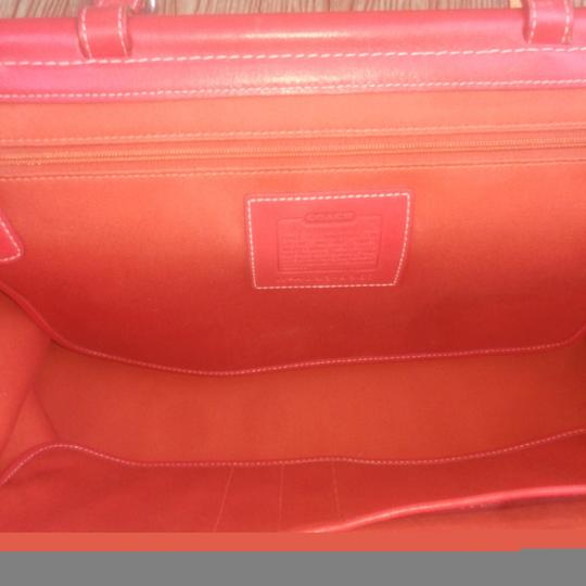 Coach Twill Drifter Top Handle Turnlock Leather Satchel in Pink, Orange