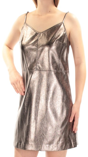 Item - Silver/Bronze Womens New Neck Sleeveless A-line Short Night Out Dress Size 4 (S)