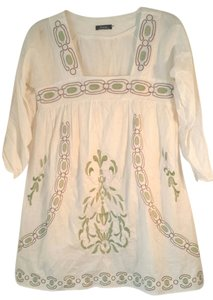 Other short dress Boho Frock Cream Cotton Cover Ups Short Cotton Tunics Tunics White on Tradesy