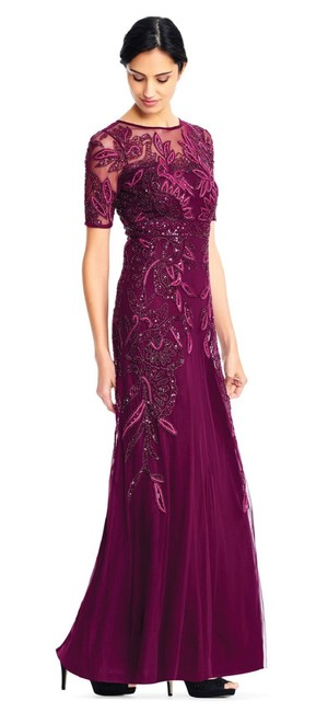 Preload https://img-static.tradesy.com/item/23999540/adrianna-papell-cabernet-vine-beaded-gown-with-illusion-short-sleeve-long-formal-dress-size-petite-4-0-0-650-650.jpg