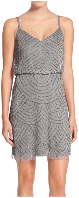 Item - Silver/Gray Art Deco Beaded Short Night Out Dress Size 8 (M)