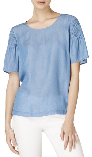 Preload https://img-static.tradesy.com/item/23999560/maison-jules-blue-womens-chambray-pleated-casual-blouse-size-8-m-0-1-650-650.jpg