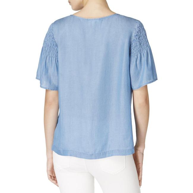 Maison Jules Chambray Pleated Casual Top Blue