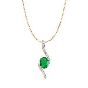 DesignerByVeronica Rose Gold Vermeil Oval Emerald and CZ Freeform Pendant
