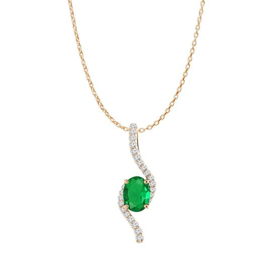 Preload https://img-static.tradesy.com/item/23999563/green-rose-gold-vermeil-oval-emerald-and-cz-freeform-pendant-necklace-0-0-540-540.jpg
