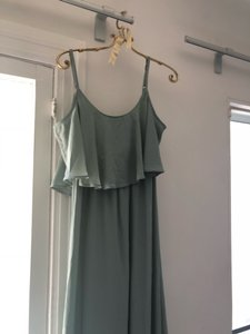 Show Me Your Mumu Silver Sage Poly Caitlin Ruffle Maxi Crisp Modern Bridesmaid/Mob Dress Size 8 (M)