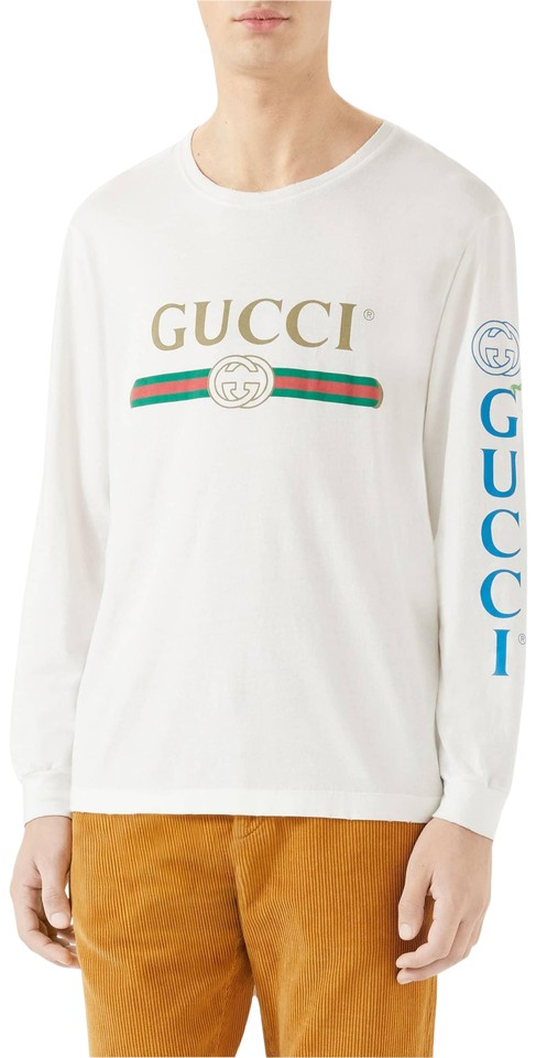 b9eebbf0855 Gucci White New Dragon Appliqué Long-sleeve T-shirt Long Sleeves Tee ...