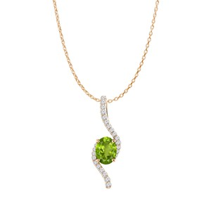 DesignerByVeronica Rose Gold Vermeil Oval Peridot and CZ Freeform Pendant