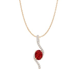 DesignerByVeronica Rose Gold Vermeil Oval Ruby and CZ Freeform Pendant