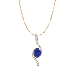DesignerByVeronica Rose Gold Vermeil Oval Sapphire and CZ Freeform Pendant