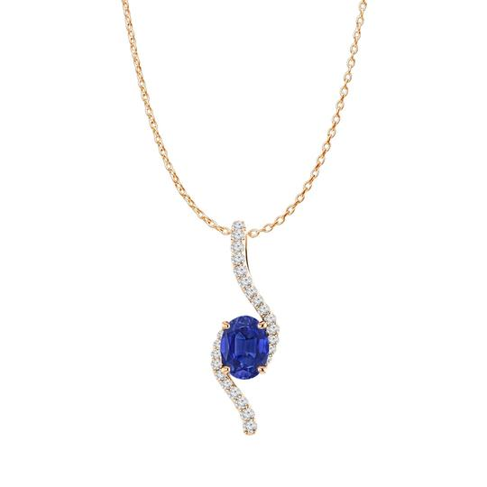 Preload https://img-static.tradesy.com/item/23999596/blue-rose-gold-vermeil-oval-sapphire-and-cz-freeform-pendant-necklace-0-0-540-540.jpg