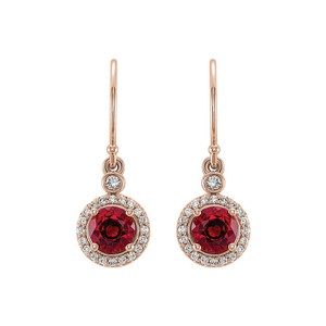 DesignerByVeronica Rose Gold Vermeil Ruby Cubic Zirconia Halo Earrings