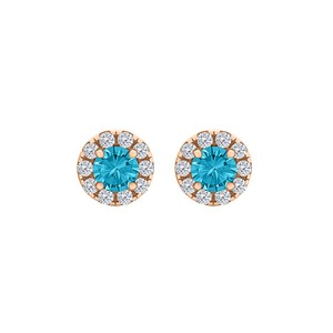 DesignerByVeronica Round Blue Topaz and CZ Fashion Halo Stud Earrings
