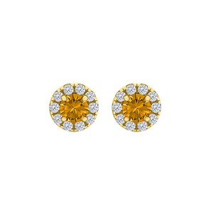 DesignerByVeronica Round Citrine CZ Halo Stud Earrings 18K Gold Vermeil