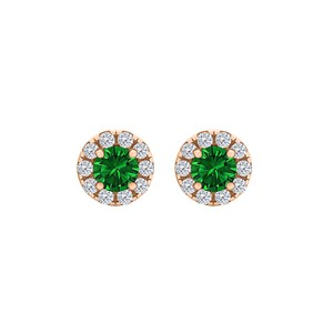 DesignerByVeronica Round Emerald CZ Halo Stud Earrings Rose Gold Vermeil