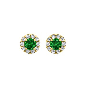 DesignerByVeronica Round Emerald CZ Halo Stud Earrings Yellow Gold Vermeil