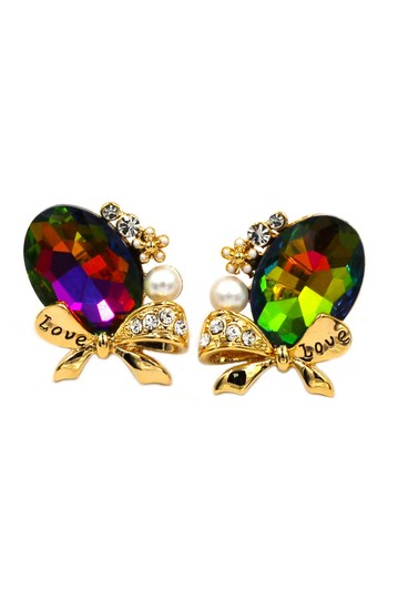 Preload https://img-static.tradesy.com/item/23999723/multicolor-elegant-oval-diamond-bowknot-gold-earrings-0-0-540-540.jpg