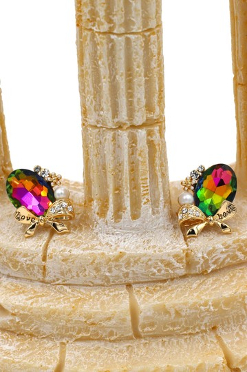 Ocean Fashion Multicolor elegant oval diamond bowknot gold earrings