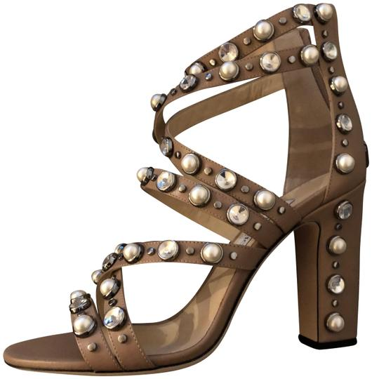 Jimmy Choo Calf Leather Leather Studded Crystals Heels Beige Sandals