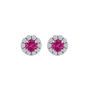 DesignerByVeronica Round Pink Sapphire and CZ Halo Stud Earrings Silver