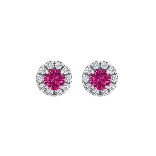 Preload https://img-static.tradesy.com/item/23999742/pink-round-sapphire-and-cz-halo-stud-silver-earrings-0-0-540-540.jpg