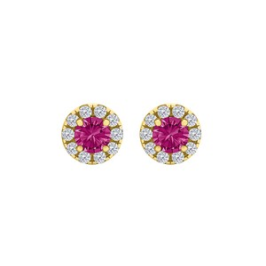 DesignerByVeronica Round Pink Sapphire CZ Halo Stud Earrings Gold Vermeil