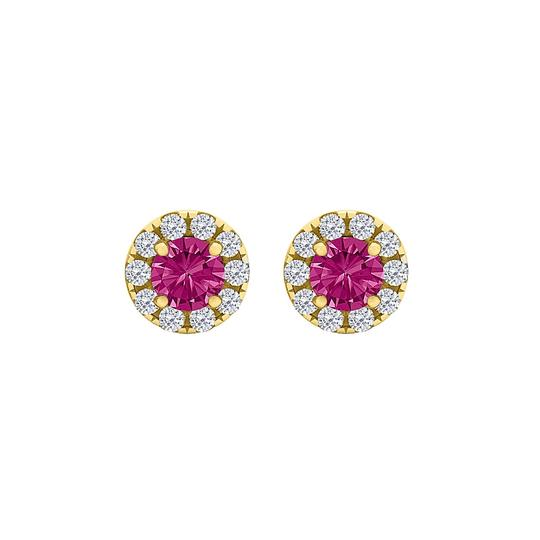 Preload https://img-static.tradesy.com/item/23999756/pink-round-sapphire-cz-halo-stud-gold-vermeil-earrings-0-0-540-540.jpg