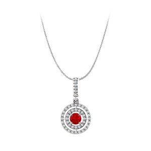 DesignerByVeronica Round Ruby and Cubic Zirconia Double Circle Pendant