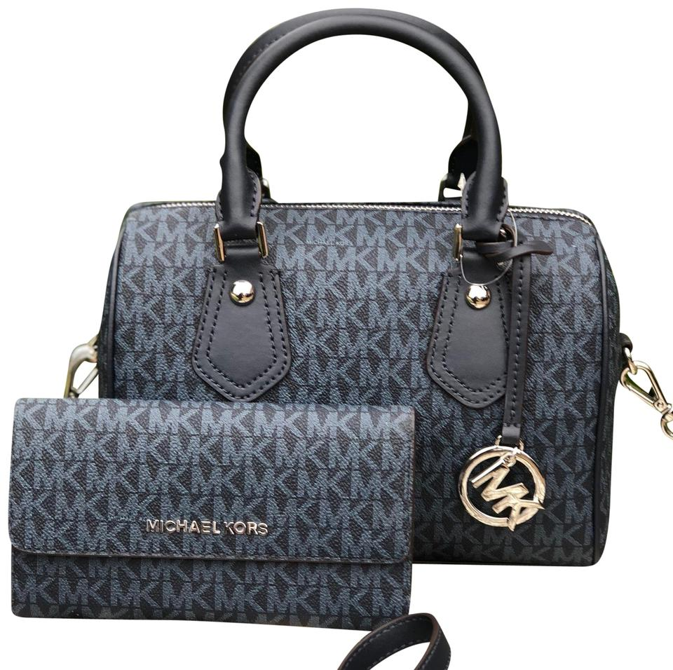 6a73622e51df Michael Kors Aria Satchel with Matching Wallet Set Admiral Blue Signature  Pvc Leather Cross Body Bag