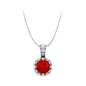 DesignerByVeronica Round Ruby and CZ Accented Bail Pendant 14K White Gold