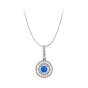 DesignerByVeronica Round Sapphire and Cubic Zirconia Double Circle Pendant
