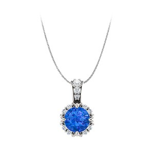 DesignerByVeronica Round Sapphire and CZ Halo Style Pendant in 14K Gold